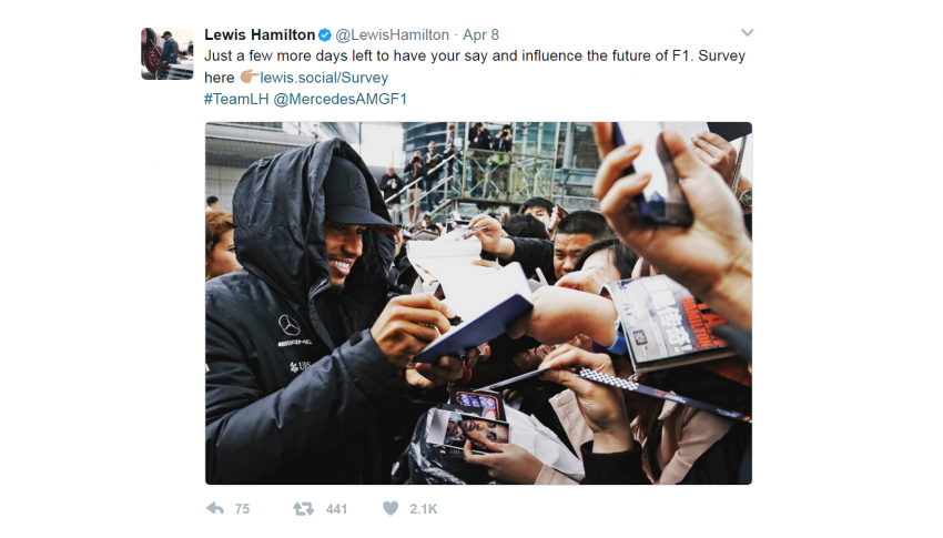 Lewis Hamilton uses a dot Social domain as a Branded Short Link to keep his millions of followers up to date